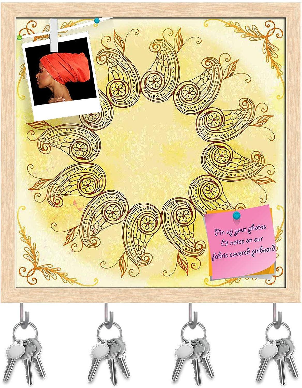 Artzfolio Ethnic Circular Ornament D6 Key Holder Hooks   Notice Pin Board   Natural Brown Frame 20 X 20Inch