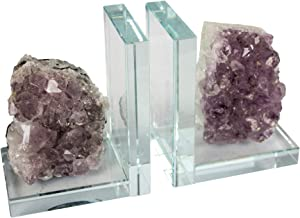 "Sagebrook Home S/2 Glass & Amethyst Bookends S/2, 9.5"" x 3.25"" x 5.5"", Purple"