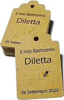 Cartellini kraft personalizzati, tag bomboniere, 30x45 millimetri, a partire da 20 pezzi, avana, etichette,matrimonio, bat...