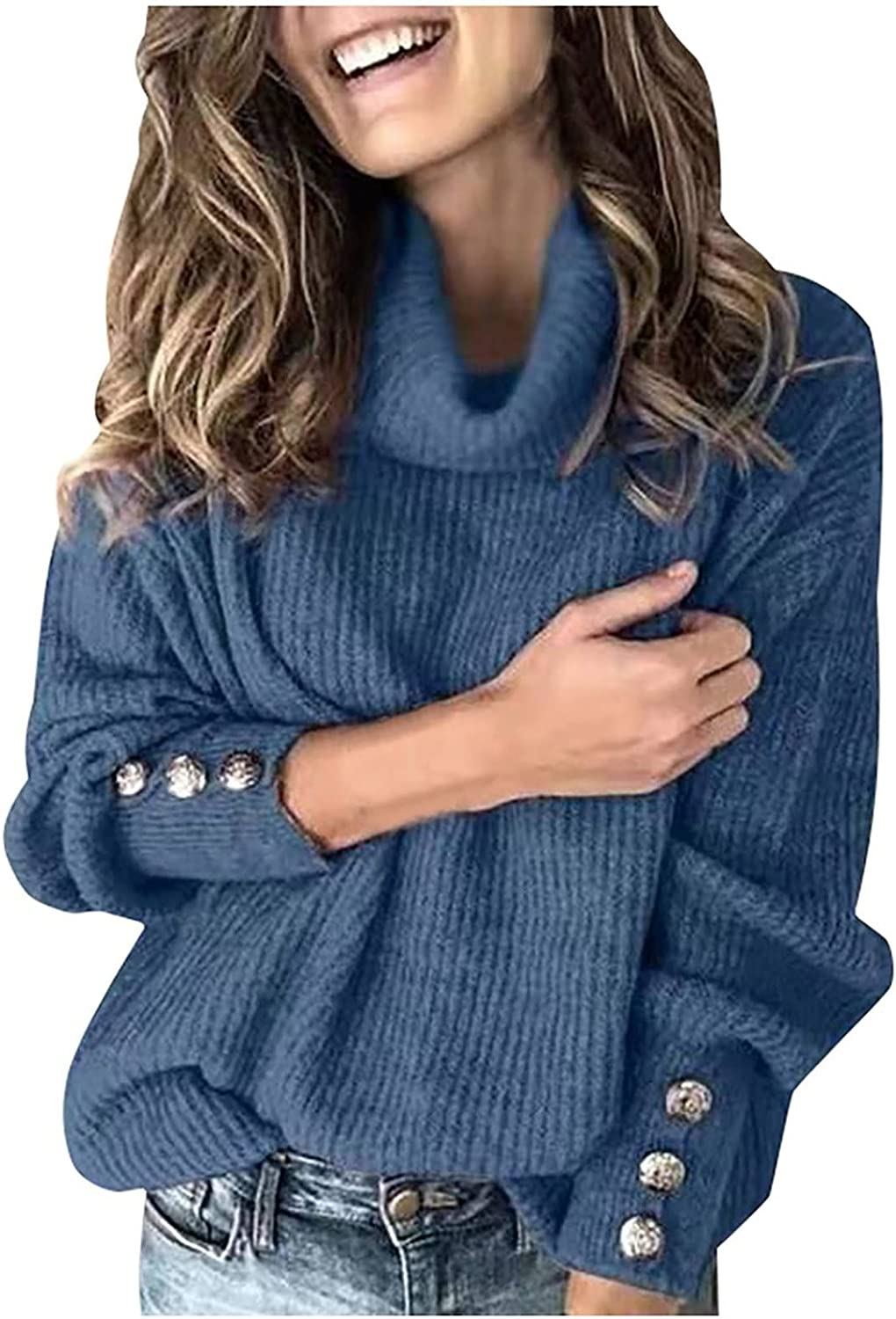 Womens Long Sleeve Turtleneck Sweaters Casual Solid Knit Ribbed Fall Winter Pullover Loose Oversized Jumper Tops