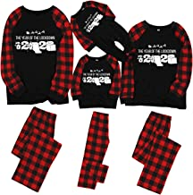 MONISE Matching Family Christmas Pajamas Sets Christmas PJ's with Red Plaid Long Sleeve Tee and Pants Loungewear