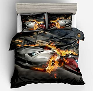 SHOMPE Game Racing Sports Cars Bedding Sets Twin Size,3 Piece Duvet Cover Set with Pillow Shams for Teens Boys Girls,NO Comforter