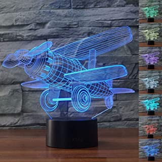 Biplane Aircraft 3D Led Lamp,Abstractive Optical Illusion Night Light,7 Color Change,Touch Switch USB Powered,Birthday Christmas Cool Gift for Child