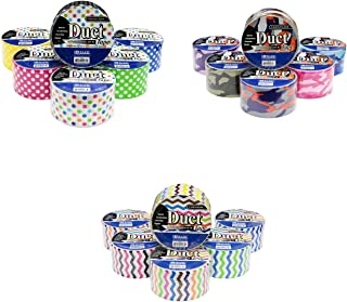 18 Roll Variety Pack Decorative Duct Style Tape (Polka-Dot, Chevron, & Colorful Camouflage) by Basic