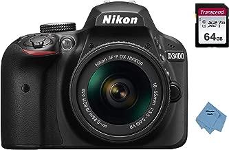 Nikon D3400 w/AF-P DX NIKKOR 18-55mm f/3.5-5.6G VR (Black) +64GB Memory Card+ Ultimate Deals Cloth