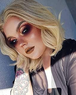 FESHFEN 15 Inch Ombre Blonde Short Wavy Synthetic Wig for Women Girls, Side Part Bob Hair Wigs, 180 Grams
