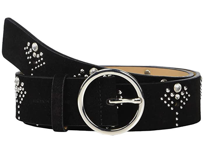 Rebecca Minkoff 35 mm Studded Belt with Crystals (Black/Polished Nickel) Women