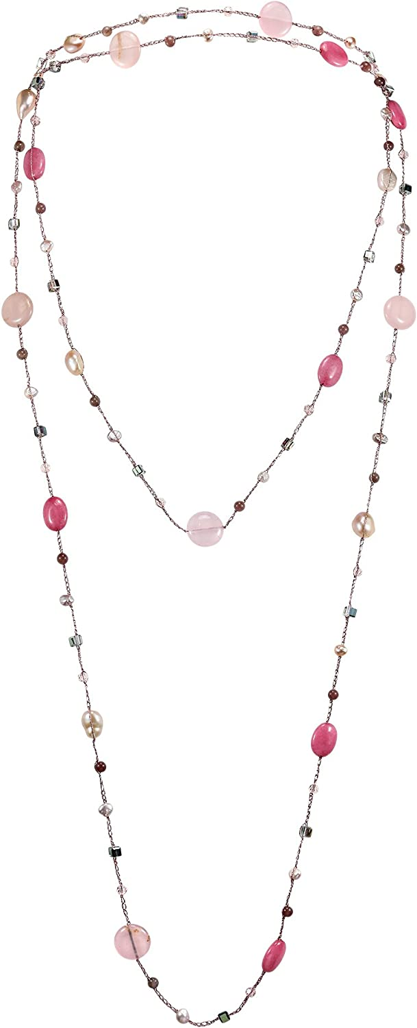 Elegantly Long Pink Glass & Cultured Freshwater Pearl Statement Necklace