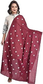Indian Dresses Store Color Nirvana Women's 100% Pure Cotton Solid Plain Simple Bandhani Dupatta Mauve