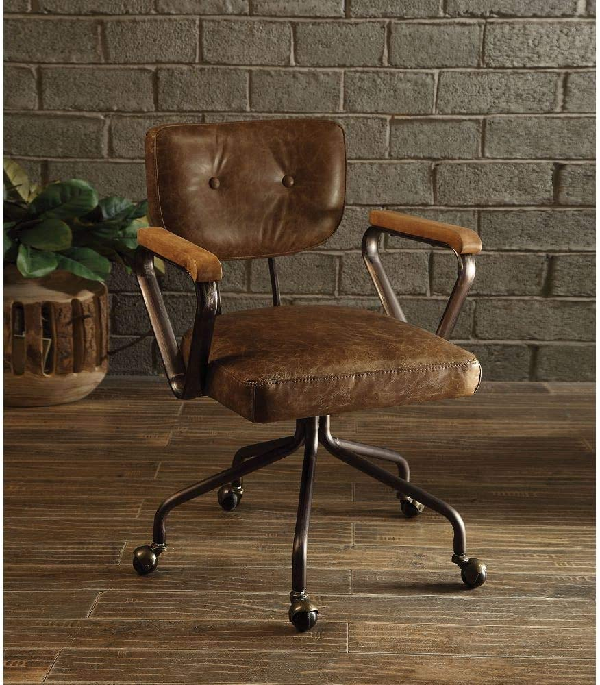 ACHICOO Office Miami Mall Chair in Vintage Fashionable Whiskey Leather 92410 Grain Top