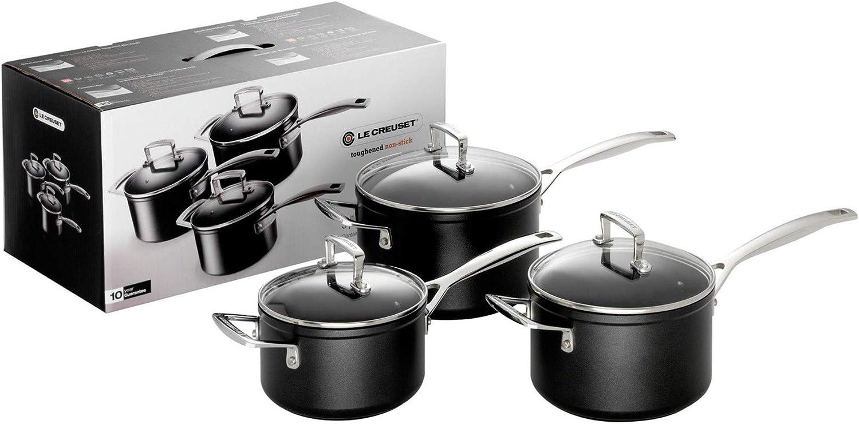 Le Creuset Toughened Non-Stick Saucepan Set with Lids- 3 Pieces, 16, 18, 20 cm, Black, 962090000
