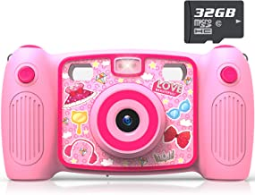 AKAMATE Kids Selfie Camera, 1080P 12MP Kids Digital Camera with 32GB SD Card Children Video Camera Camcorder Toys Gifts for 4-10 Year Old Boys Girls, Build-in 5 Games, Voice Recorder (Pink)