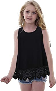 Vieille Girls Tunic Tops Lace Sleeveless T-Shirt Casual Round Neck Tees 6-13 Years
