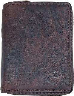 FLW Cerniera portafoglio realizzato in vera pelle naturale resistente con scorpione