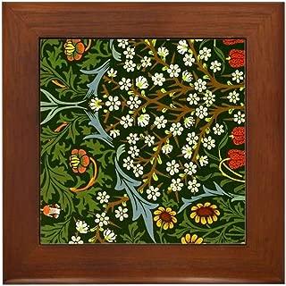 CafePress William Morris Vintage Design: Blackth Framed Tile, Decorative Tile Wall Hanging