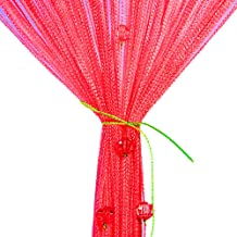 String Curtain Panel, Colorful Beads Door Wall Window Doorways Panel Fly Screen Fringe Room Divider Blinds, Decorative Tassel Ribbon Strip Screen Living Room, Bedroom, Party Events (Red)