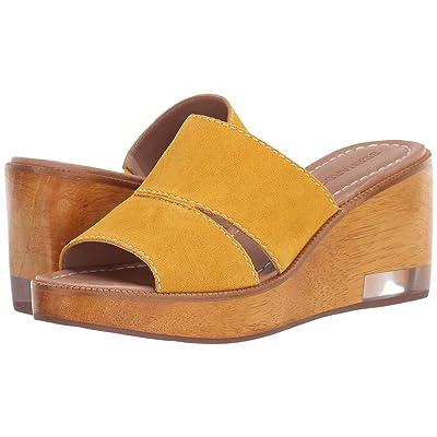 Bernardo Kara Wedge Sandal (Yellow Split Suede) Women