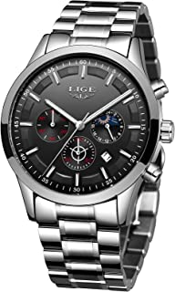 LIGE Mens Watches Fashion Stainless Steel Chronograph Watch Classic Analog Quartz Waterproof Watch Multifunction Gents Bus...