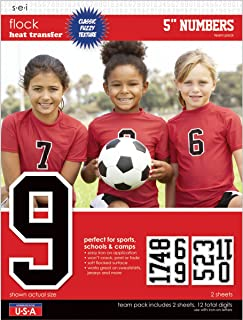 SEI 5-Inch Iron-On Team Pack Athletic Number Transfers, Black, 2-Sheet