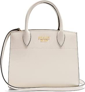 Saffiano City Leather White Handbag w Black Trim Bibliotheque Tote Bag 1BA049