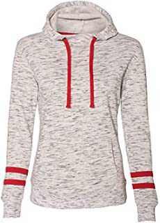 J. America 8674 Women's Melange Fleece Striped Sleeve Hooded Pullover