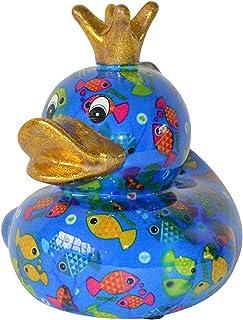Pomme Pidou Skarbonka kaczka niebieska z rybkami 20 x 17 cm skarbonka prezent pieniężny figurka dekoracyjna