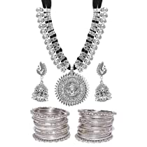 [LD] YouBella Jewellery Sets For Women Silver Plated Afghani Tribal Necklace Jewellery Set with Earrings and Bangles Combo