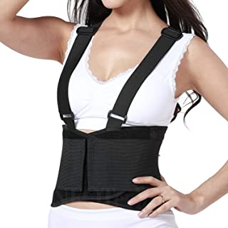 Lumbar Support Belt with Suspenders for Women - Black (Size M)