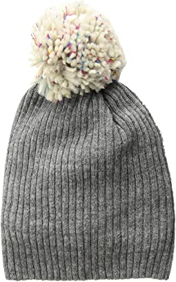 Lightweight Rib Watch Cap with Knit Pom