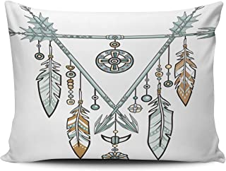 Hoooottle Home Decorative Triangle from Arrows Jewelry Feathers and Beads Ethnic Amulets American Indians Boho Pillowcase One Side Printed Throw Pillow Case Cushion Cover Boudoir 12x18 Inches