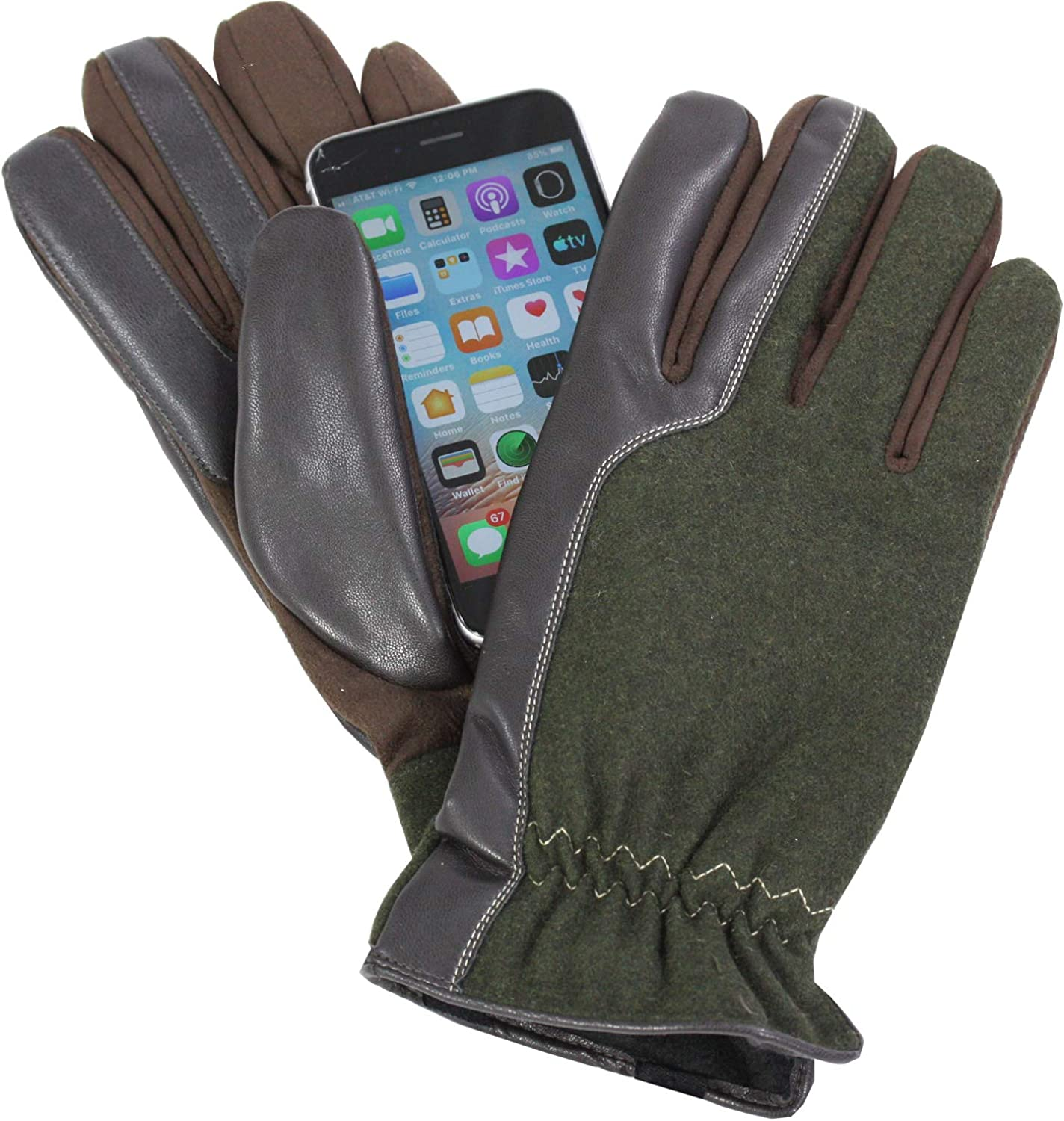 Isotoner Mens Smartouch Ranking TOP7 Touchscreen Polyester Brown X Attention brand Glove Wool