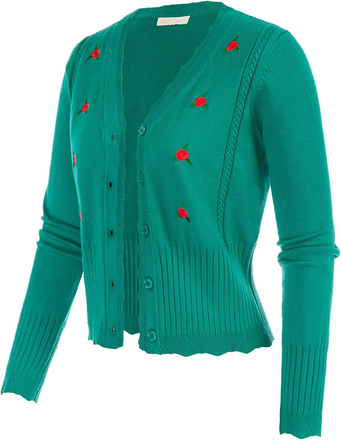 Belle Poque Women Vintage Floral Embroidery Cardigan Soft V Neck Knit Cardigan Sweater
