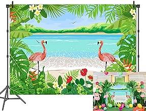 Fanghui 7x5FT Flamingo Summer Hawaiian Beach Party Backdrop Tropical Flower Printrd Cartoon Photography Background Baby Shower Birthday Party Banner Supplies Photo Studio Props