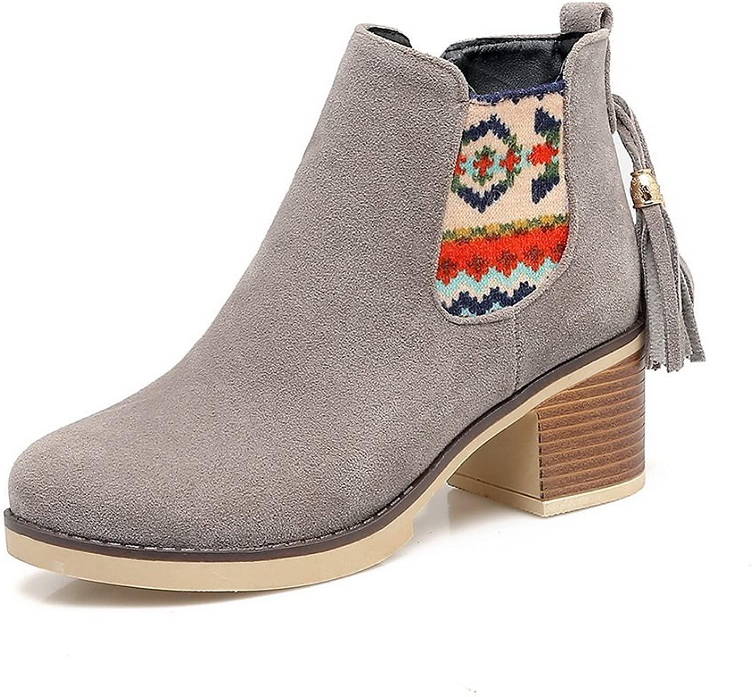 1TO9 Womens Boots Closed-Toe Zip Low-Heel Embroidered Warm Lining Rubber Water_Resistant Road Manmade Charms Round-Toe Urethane Boots MNS02604