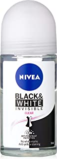 NIVEA Black & White Invisible Clear Roll On Anti-Perspirant Deodorant, 50ml