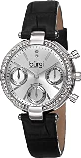 Burgi Diamond & Crystal Women's Watch - Multifunction 3 Subdial and Diamond Hour Marker On Croco-Embossed Leather Strap Watch - BUR129