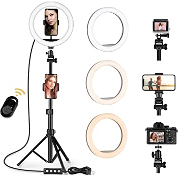MSOAT8'' Selfie Ring Light with Adjustable Tripod Stand - Upgraded Dimmable Camera Ring Light with Phone Holder for TikTok/YouTube/Live Stream/Makeup/Photography Compatible with iPhone Android