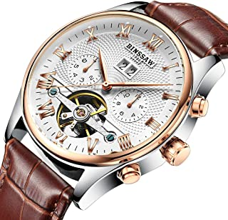KINYUED JYD-J012 Men's Watch Tourbillon Mechanical Watch for Men 3ATM Waterproof Week Month Calendar Display Mens Automatic Classic Mechanical Wristwatch with Genuine Leather Band