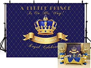 MEHOFOTO Little Prince Baby Shower Photo Background Royal Blue and Gold Crown Boy Royal Celebration Party Banner Backdrops for Photography 7x5ft
