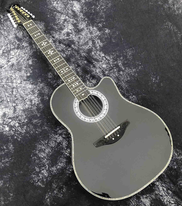 YYYSHOPP Guitarra Spruce Solid Spill Top Fibra de Carbono Tortoiseshell Real Incrustado Guitarra acústica con Ecualizador (Color : Guitar, Size : 41 Inches)