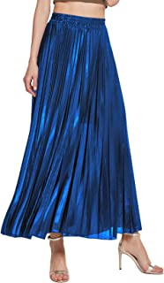 Chartou Women's Premium Metallic Shiny Shimmer Accordion Pleated Long Maxi Skirt