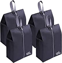 Premium Quality Travel Shoe Bags (4 pack) - Black, Splash proof, Packing cubes with hook