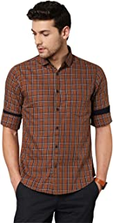Dennis Lingo Men's Checkered Brown Slim Fit Cotton Casual Shirt