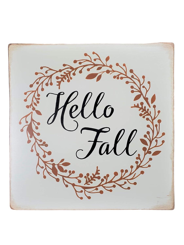 Outlet sale feature Primitive Rustic Farmhouse Autumn Wall Decor Art Hello Sign Deluxe Home