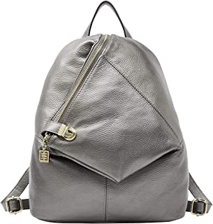 4eed3bcac1 BOYATU Real Leather Backpack Purse for Women Casual Rucksack Ladies Small Travel  Bag (Silver)