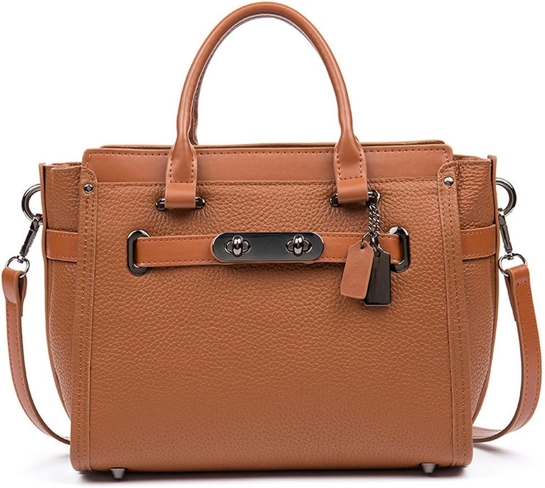 HMILY Leather Ladies Handbags Fashion Wild Shoulder Messenger Bag H7038 Yellow Brown