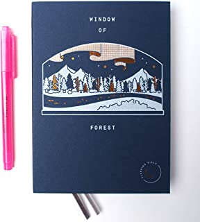 Sleeping Piece Weekly Diary with AHZOA H1 Highlighter, Date is not Printed (Window of Forest)