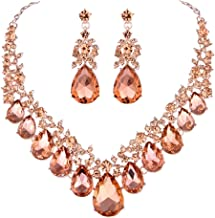 Youfir Bridal Rhinestone Crystal V-Shaped Teardrop Wedding Necklace and Earring Jewelry Sets for Brides Formal Dress