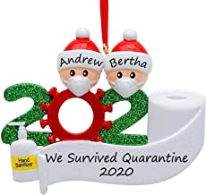 Real Glitter, TERSELY 2020 Christmas Ornaments DIY Hanging Resin Decoration, Survived Family Xmas Tree Ornament,Quarantine...