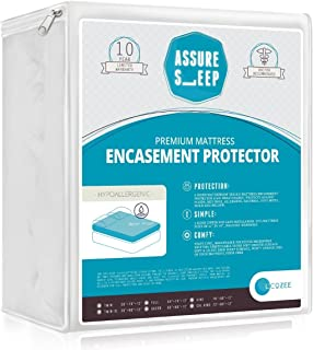 Waterproof Zippered Mattress Encasement Cover - Bed Bug Proof Protector, Breathable, Queen Size, Assure Sleep By L'COZEE